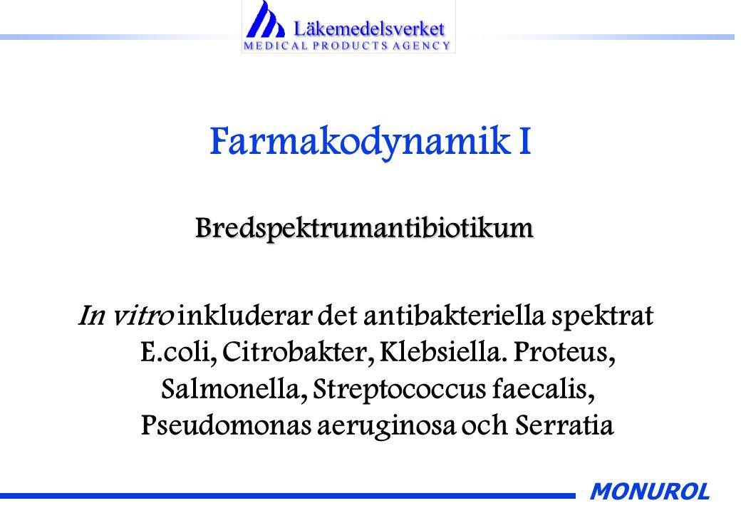 MONUROL Farmakodynamik II Frånvaro/mycket låg incidens av korsresistens p g a verkningsmekanismen Monurol har dålig effekt på UVI orsakad av Staphylococcus saprophyticus.