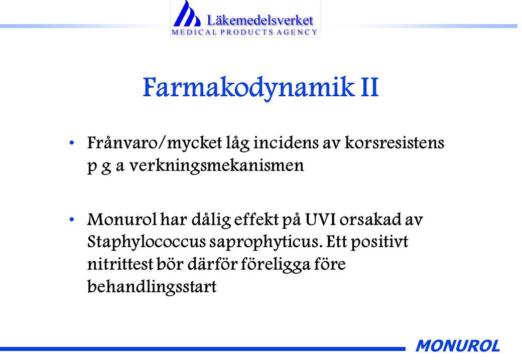MONUROL Farmakodynamik II Frånvaro/mycket låg incidens av korsresistens p g a verkningsmekanismen Monurol har dålig effekt på UVI orsakad av Staphyloc