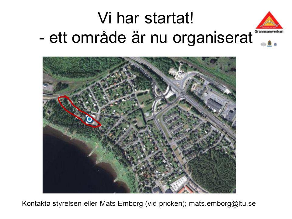 Vi har startat! - ett område är nu organiserat Kontakta styrelsen eller Mats Emborg (vid pricken); mats.emborg@ltu.se