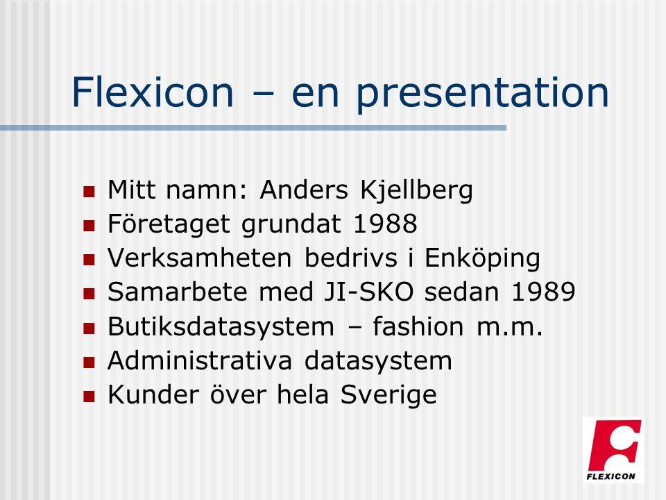 Flexicon – en presentation Mitt namn: Anders Kjellberg Företaget grundat 1988 Verksamheten bedrivs i Enköping Samarbete med JI-SKO sedan 1989 Butiksda
