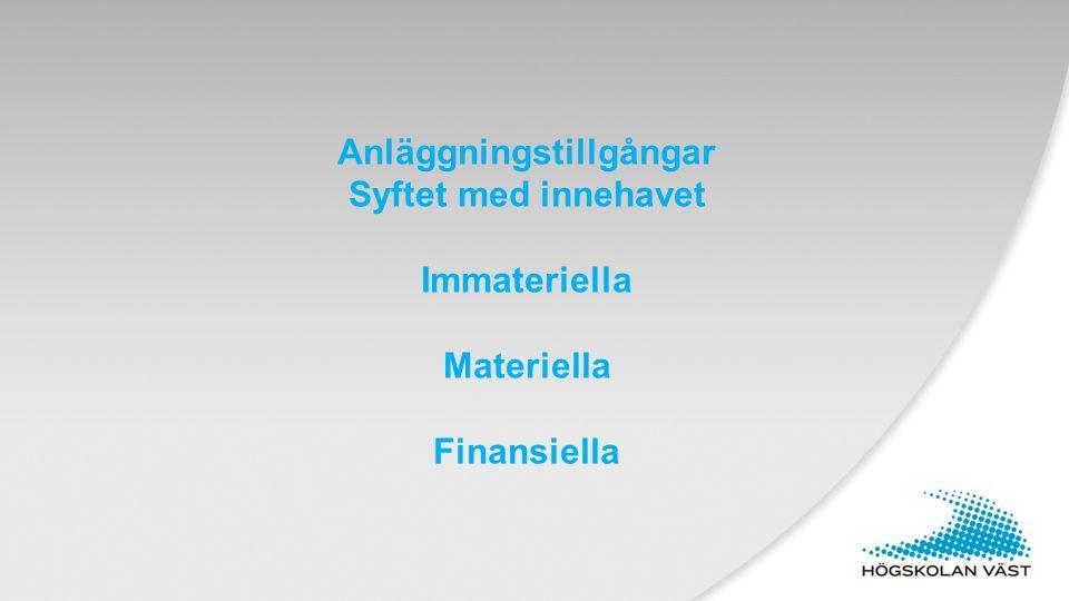 Patent Hyresrätt Goodwill Balanserade utgifter Nyttjanderätter Kontogrupp 10 Immateriella anläggningstillgångar 2