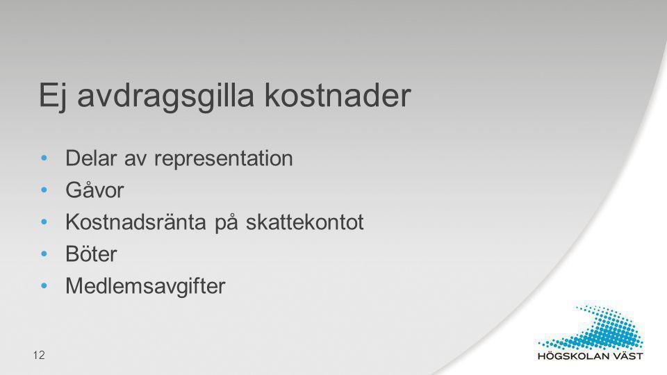 Delar av representation Gåvor Kostnadsränta på skattekontot Böter Medlemsavgifter Ej avdragsgilla kostnader 12