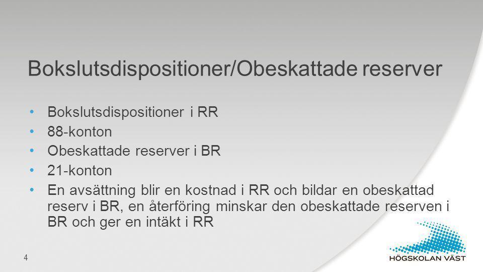 Bokslutsdispositioner i RR 88-konton Obeskattade reserver i BR 21-konton En avsättning blir en kostnad i RR och bildar en obeskattad reserv i BR, en å