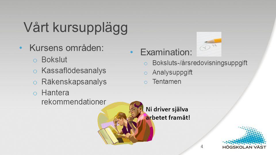 Vårt kursupplägg Kursens områden: o Bokslut o Kassaflödesanalys o Räkenskapsanalys o Hantera rekommendationer Examination: o Boksluts-/årsredovisnings