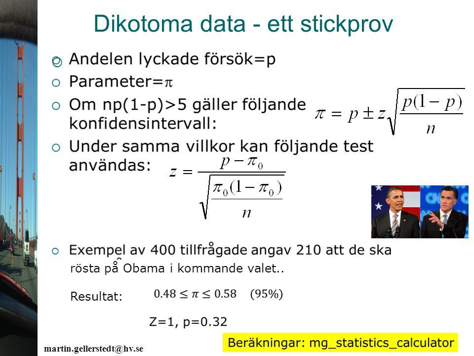 martin.gellerstedt@hv.se Dikotoma data - ett stickprov  rösta på Obama i kommande valet.. Resultat: