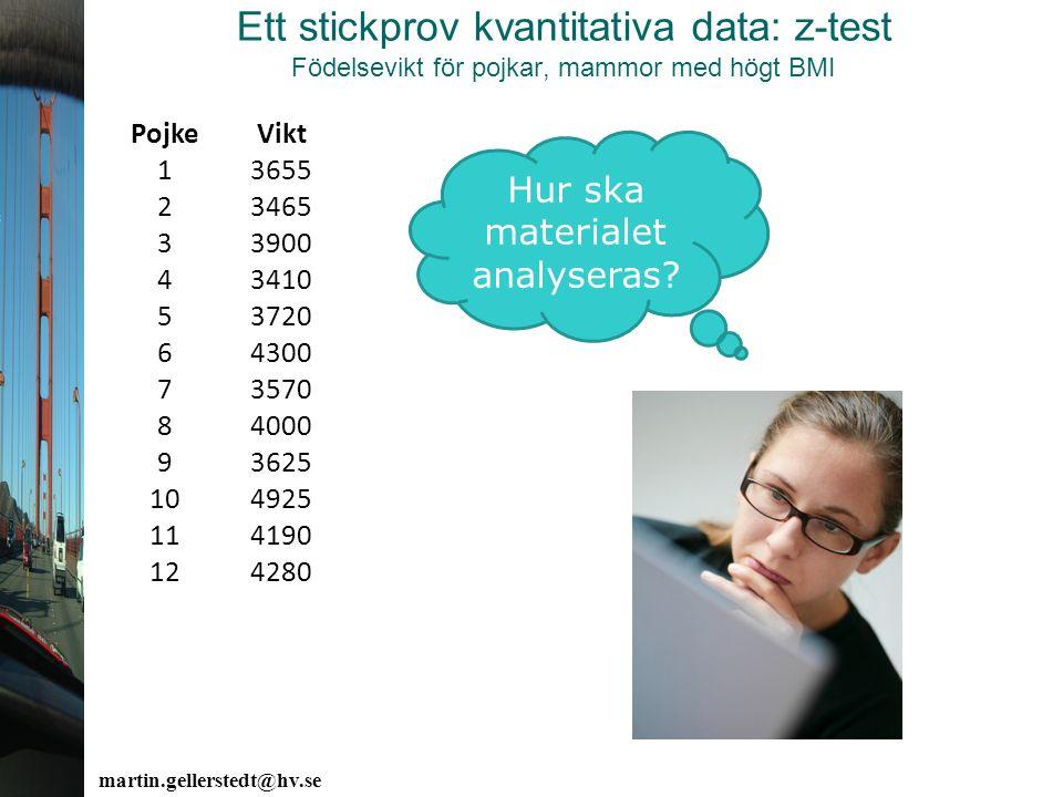 Ett stickprov kvantitativa data: z-test Födelsevikt för pojkar, mammor med högt BMI PojkeVikt 13655 23465 33900 43410 53720 64300 73570 84000 93625 10