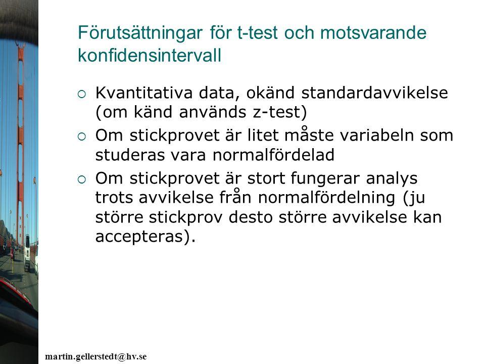 Förutsättningar för t-test och motsvarande konfidensintervall  Kvantitativa data, okänd standardavvikelse (om känd används z-test)  Om stickprovet ä