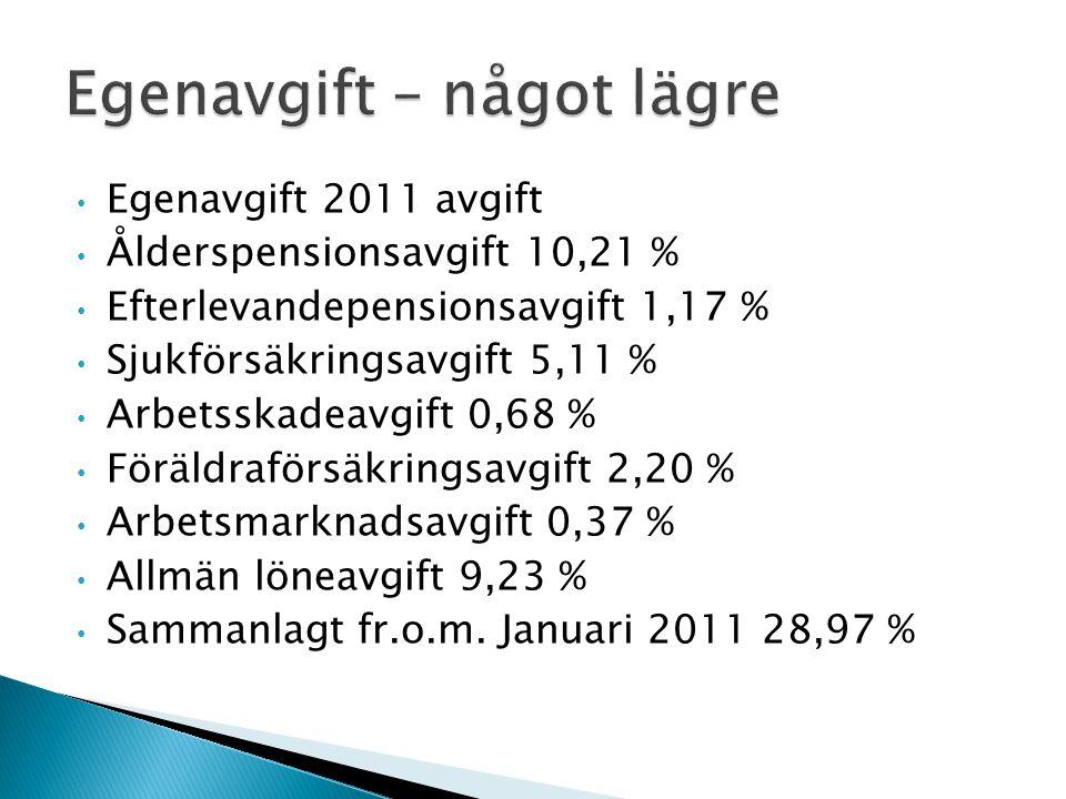 Egenavgift 2011 avgift Ålderspensionsavgift 10,21 % Efterlevandepensionsavgift 1,17 % Sjukförsäkringsavgift 5,11 % Arbetsskadeavgift 0,68 % Föräldrafö