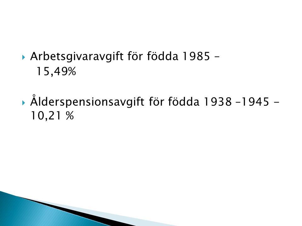  Arbetsgivaravgift för födda 1985 – 15,49%  Ålderspensionsavgift för födda 1938 –1945 - 10,21 %