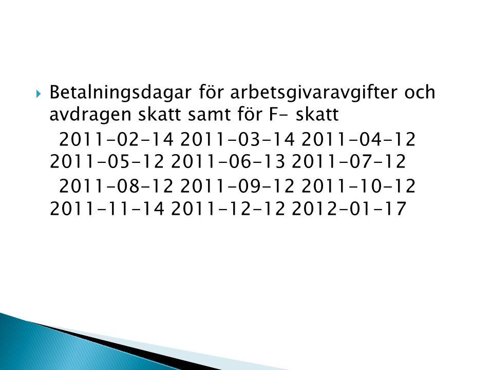  Betalningsdagar för arbetsgivaravgifter och avdragen skatt samt för F- skatt 2011-02-14 2011-03-14 2011-04-12 2011-05-12 2011-06-13 2011-07-12 2011-