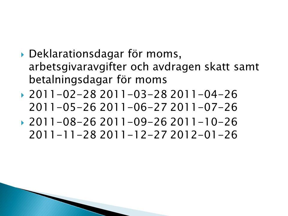  Deklarationsdagar för moms, arbetsgivaravgifter och avdragen skatt samt betalningsdagar för moms  2011-02-28 2011-03-28 2011-04-26 2011-05-26 2011-