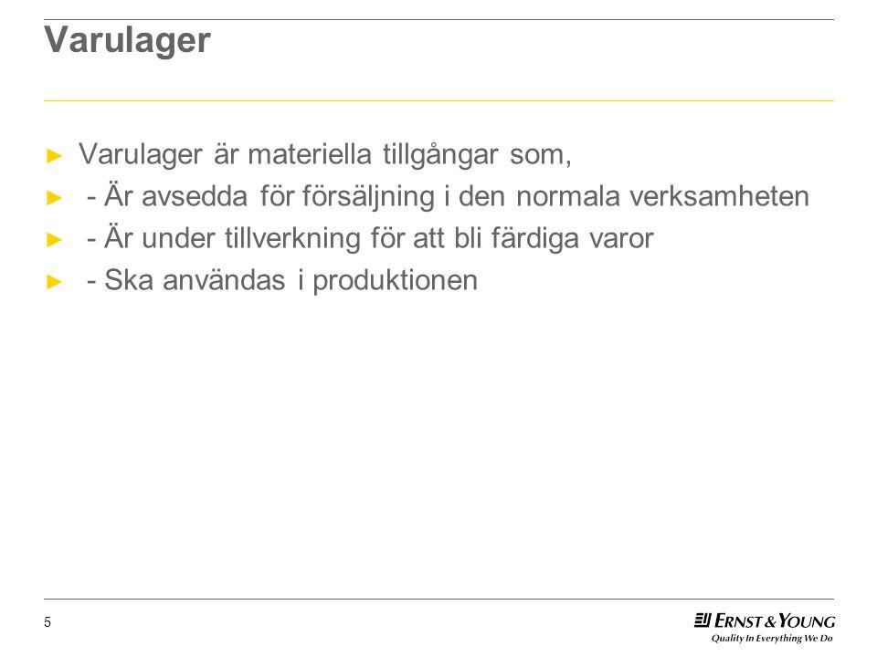 Varulager ► Varulager är materiella tillgångar som, ► - Är avsedda för försäljning i den normala verksamheten ► - Är under tillverkning för att bli färdiga varor ► - Ska användas i produktionen 5