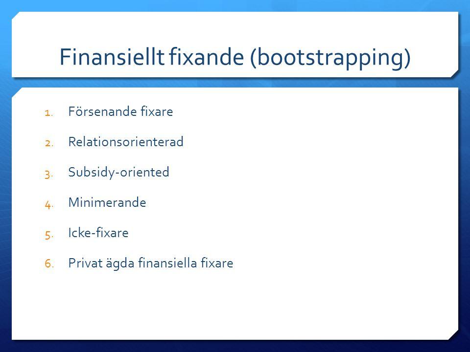 Finansiellt fixande (bootstrapping) 1. Försenande fixare 2. Relationsorienterad 3. Subsidy-oriented 4. Minimerande 5. Icke-fixare 6. Privat ägda finan