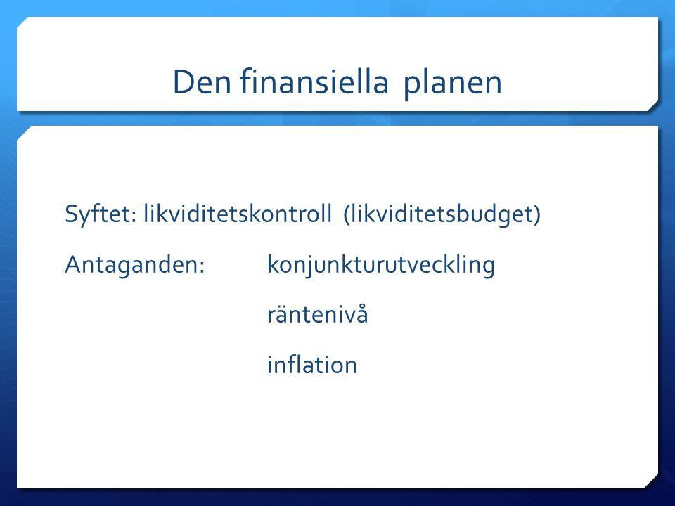 Den finansiella planen Syftet: likviditetskontroll (likviditetsbudget) Antaganden: konjunkturutveckling räntenivå inflation
