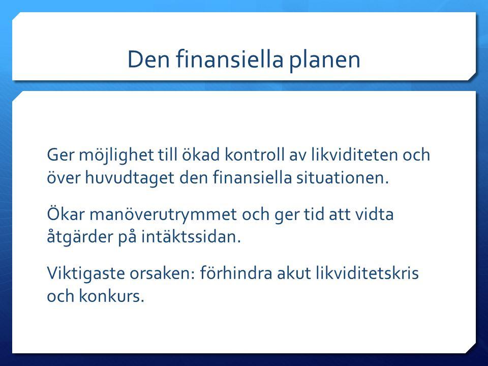 Den finansiella planen Ger möjlighet till ökad kontroll av likviditeten och över huvudtaget den finansiella situationen. Ökar manöverutrymmet och ger