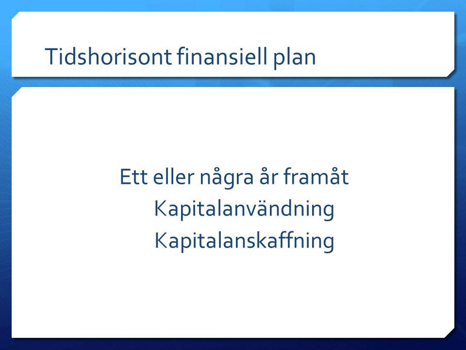 Tidshorisont finansiell plan Ett eller några år framåt Kapitalanvändning Kapitalanskaffning