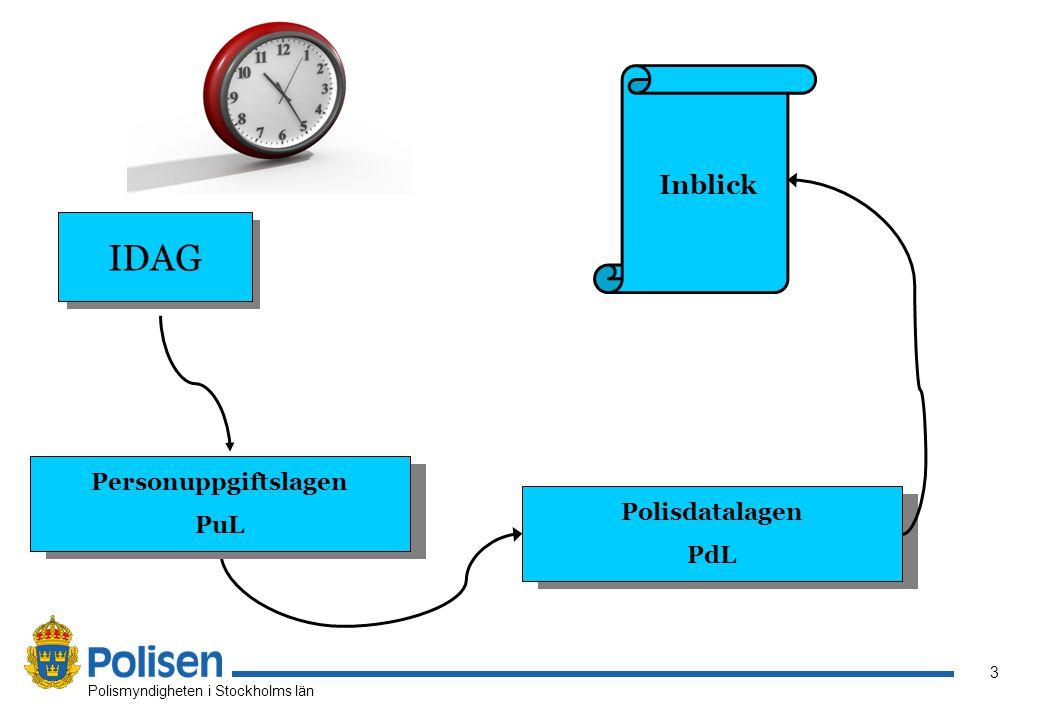 3 Polismyndigheten i Stockholms län Inblick IDAG Personuppgiftslagen PuL Polisdatalagen PdL