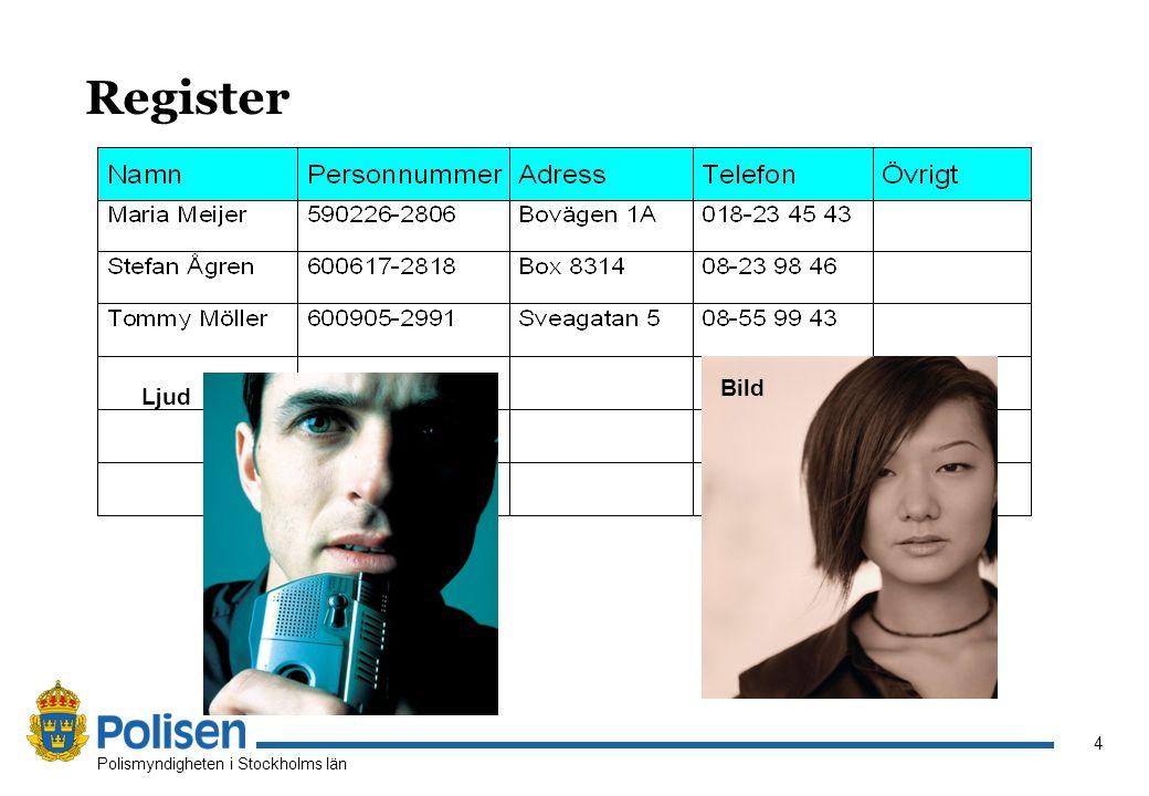 4 Polismyndigheten i Stockholms län Register Ljud Bild