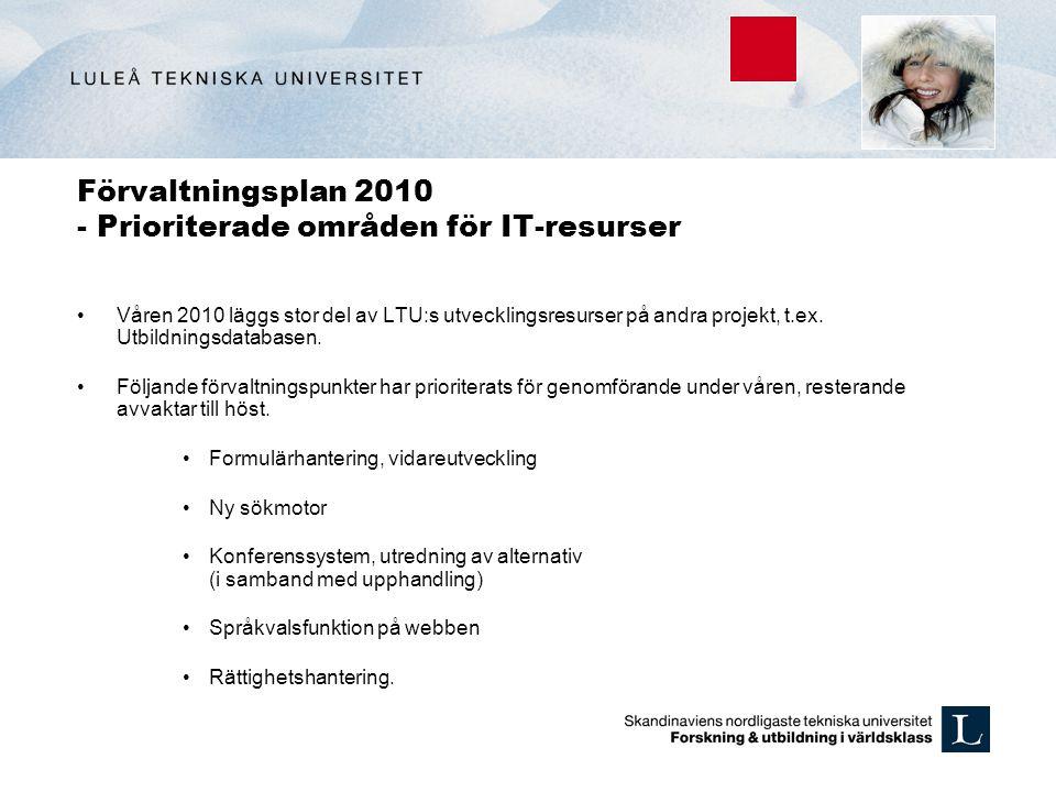Förvaltningsplan 2010 - Prioriterade områden för IT-resurser Våren 2010 läggs stor del av LTU:s utvecklingsresurser på andra projekt, t.ex. Utbildning