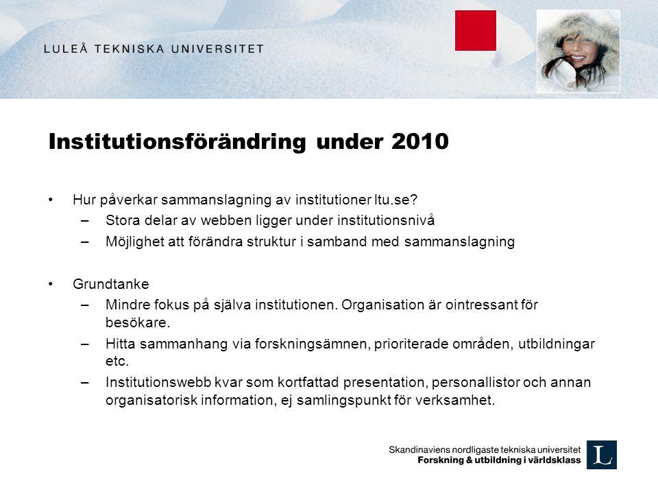 Institutionsförändring under 2010 Hur påverkar sammanslagning av institutioner ltu.se? –Stora delar av webben ligger under institutionsnivå –Möjlighet