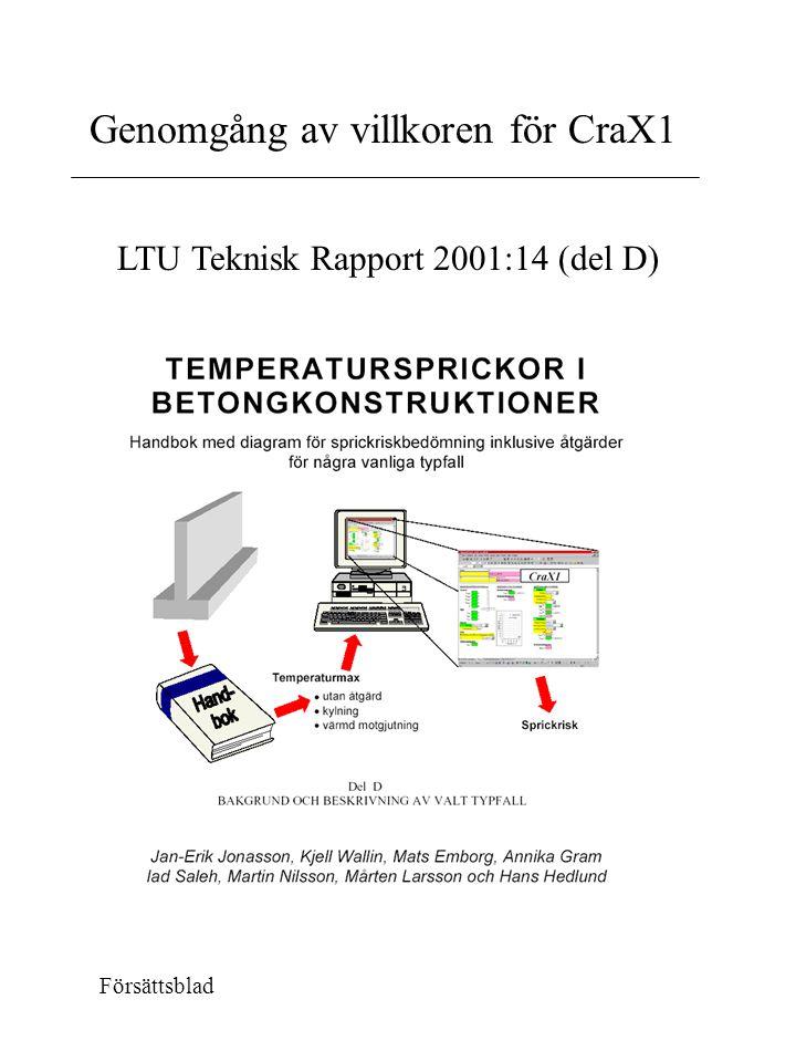 LTU Teknisk Rapport 2001:14 (del D) Försättsblad Genomgång av villkoren för CraX1