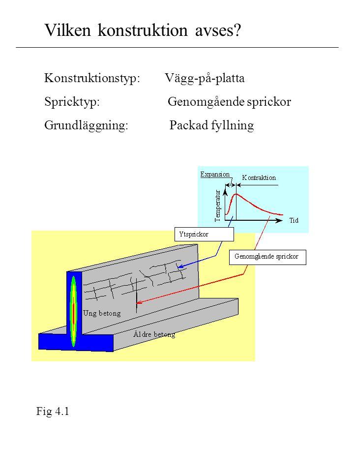 Konstruktionstyp: Vägg-på-platta Spricktyp: Genomgående sprickor Grundläggning: Packad fyllning Fig 4.1 Vilken konstruktion avses?