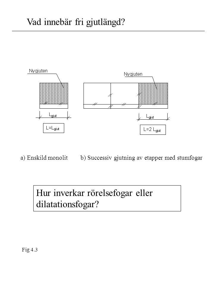 Vad innebär fri gjutlängd? a) Enskild monolit b) Successiv gjutning av etapper med stumfogar Fig 4.3 Hur inverkar rörelsefogar eller dilatationsfogar?