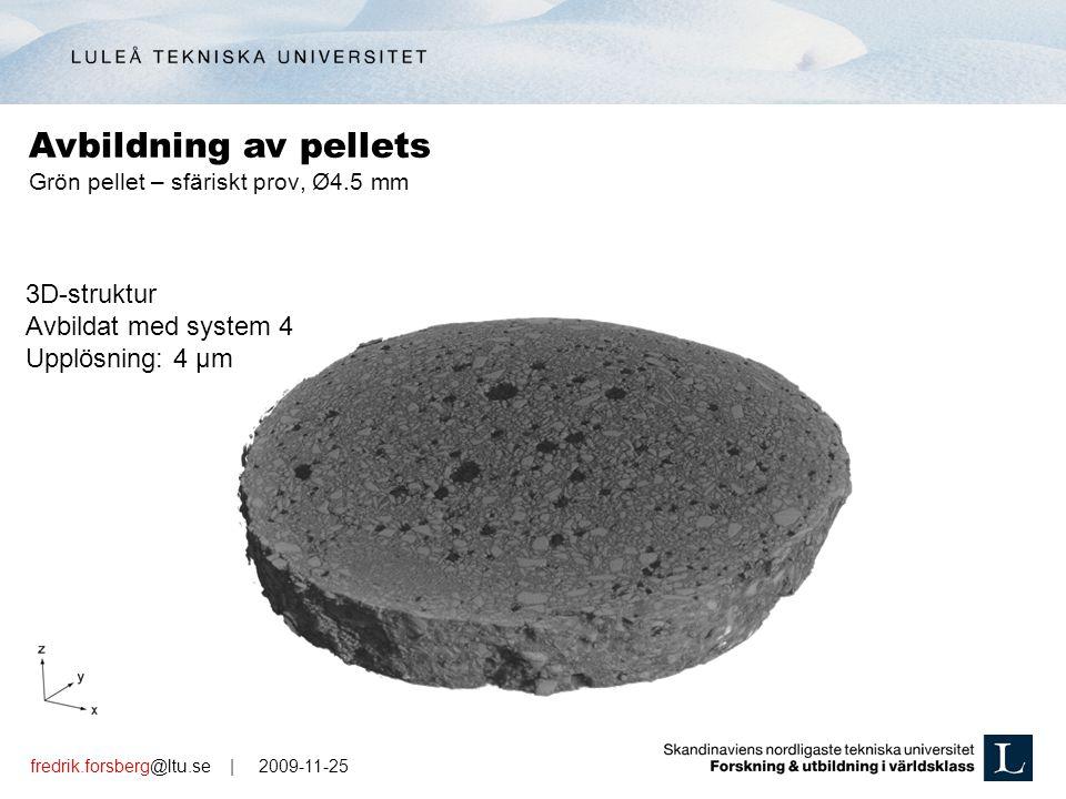 fredrik.forsberg@ltu.se | 2009-11-25 3D-struktur Avbildat med system 4 Upplösning: 4 µm Grön pellet – sfäriskt prov, Ø4.5 mm Avbildning av pellets