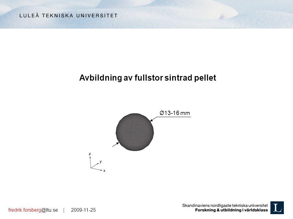 fredrik.forsberg@ltu.se | 2009-11-25 Ø13-16 mm Avbildning av fullstor sintrad pellet