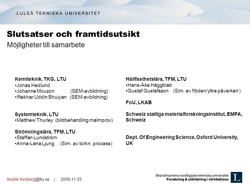 fredrik.forsberg@ltu.se | 2009-11-25 Kemiteknik, TKG, LTU Jonas Hedlund Johanne Mouzon (SEM-avbildning) Iftekhar Uddin Bhuiyan (SEM-avbildning) System