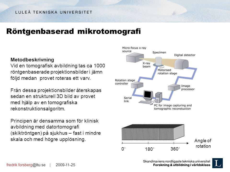 fredrik.forsberg@ltu.se | 2009-11-25 Metodbeskrivning Vid en tomografisk avbildning tas ca 1000 röntgenbaserade projektionsbilder i jämn följd medan provet roteras ett varv.