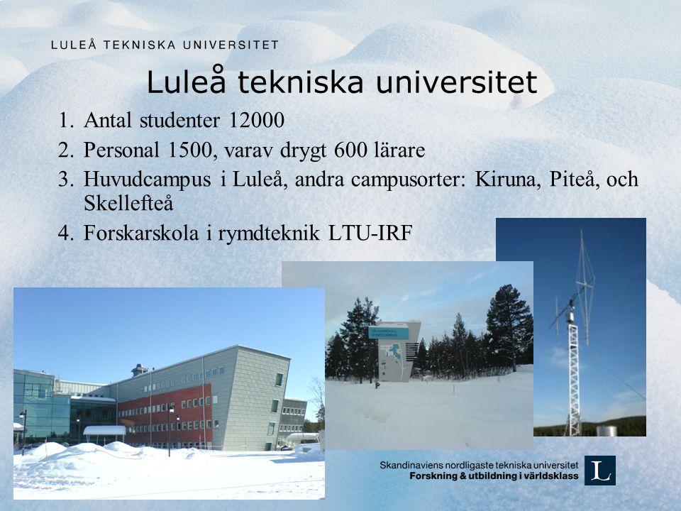 Luleå tekniska universitet 1.Antal studenter 12000 2.Personal 1500, varav drygt 600 lärare 3.Huvudcampus i Luleå, andra campusorter: Kiruna, Piteå, och Skellefteå 4.Forskarskola i rymdteknik LTU-IRF