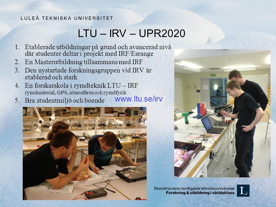 1.Etablerade utbildningar på grund och avancerad nivå där studenter deltar i projekt med IRF/Esrange 2.En Masterutbildning tillsammans med IRF 3.Den nystartade forskningsgruppen vid IRV är etablerad och stark 4.En forskarskola i rymdteknik LTU – IRF rymdmaterial, GPS, atmosfären och rymdfysik 5.Bra studentmiljö och boende LTU – IRV – UPR2020 www.ltu.se/irv