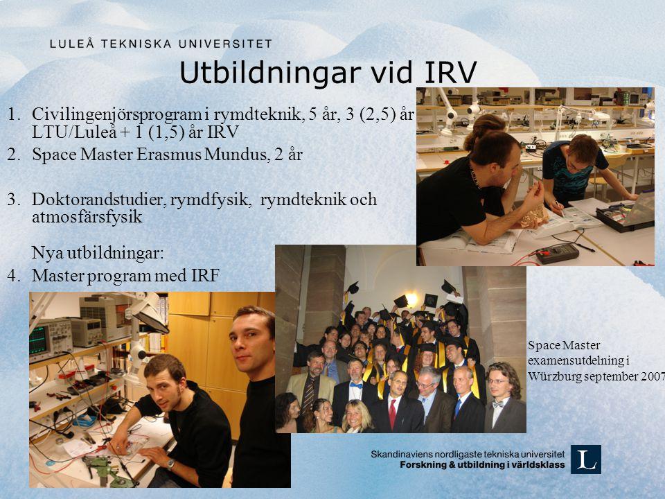 Utbildningar vid IRV 1.Civilingenjörsprogram i rymdteknik, 5 år, 3 (2,5) år LTU/Luleå + 1 (1,5) år IRV 2.Space Master Erasmus Mundus, 2 år 3.Doktorand
