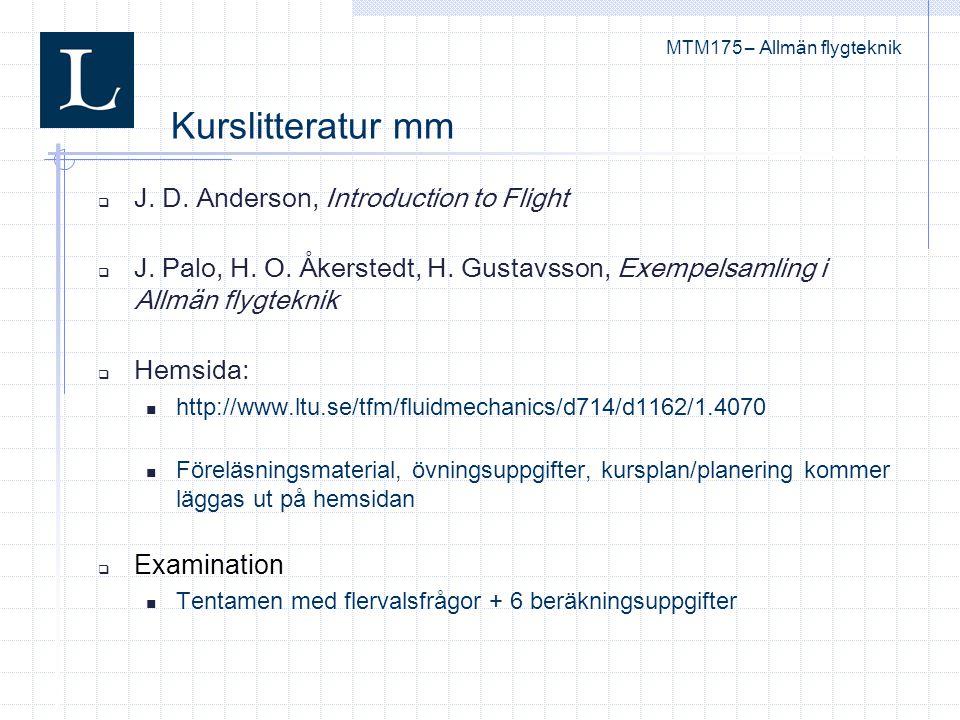  J. D. Anderson, Introduction to Flight  J. Palo, H. O. Åkerstedt, H. Gustavsson, Exempelsamling i Allmän flygteknik  Hemsida: http://www.ltu.se/tf