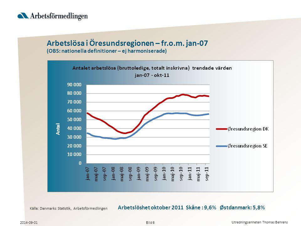 Bild 6 2014-09-01 Utredningsenheten Thomas Behrens Arbetslösa i Öresundsregionen – fr.o.m.