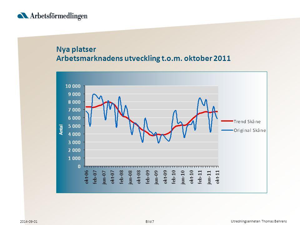 Bild 7 2014-09-01 Utredningsenheten Thomas Behrens Nya platser Arbetsmarknadens utveckling t.o.m.