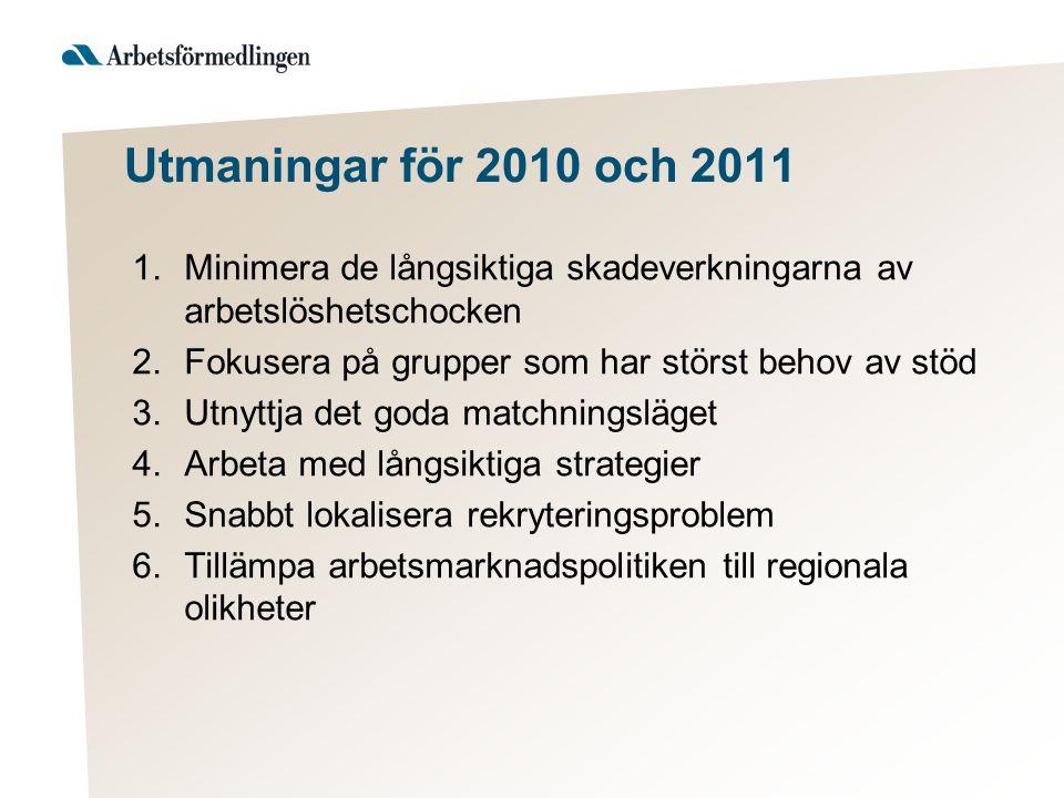 Utmaningar för 2010 och 2011 1.Minimera de långsiktiga skadeverkningarna av arbetslöshetschocken 2.Fokusera på grupper som har störst behov av stöd 3.Utnyttja det goda matchningsläget 4.Arbeta med långsiktiga strategier 5.Snabbt lokalisera rekryteringsproblem 6.Tillämpa arbetsmarknadspolitiken till regionala olikheter