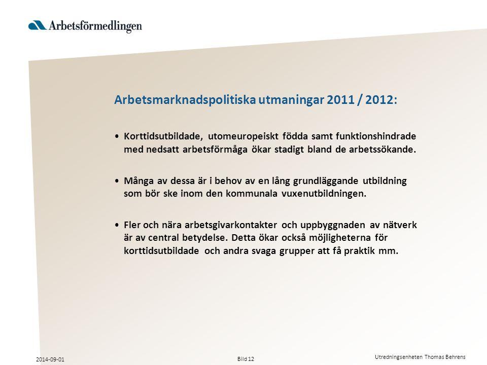 Arbetsmarknadspolitiska utmaningar 2011 / 2012: Korttidsutbildade, utomeuropeiskt födda samt funktionshindrade med nedsatt arbetsförmåga ökar stadigt bland de arbetssökande.