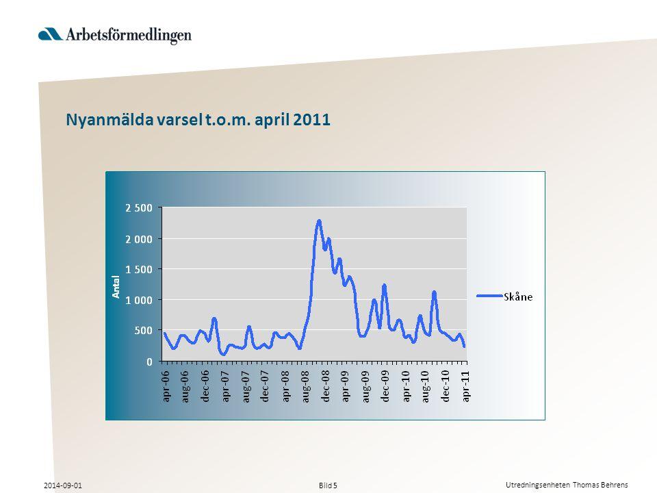 Bild 5 2014-09-01 Utredningsenheten Thomas Behrens Nyanmälda varsel t.o.m. april 2011