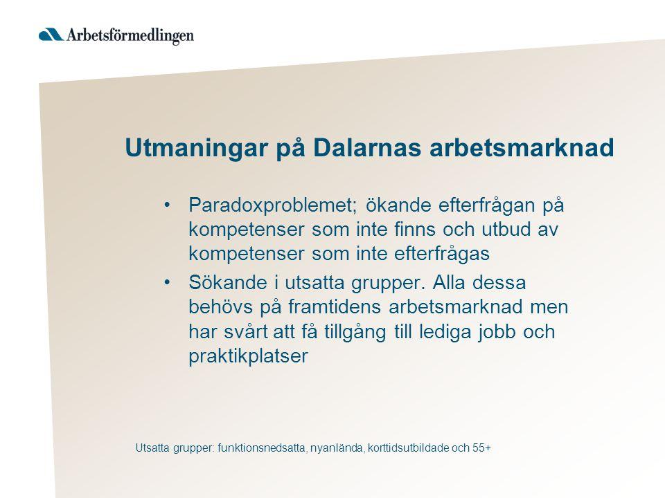 Utmaningar på Dalarnas arbetsmarknad Paradoxproblemet; ökande efterfrågan på kompetenser som inte finns och utbud av kompetenser som inte efterfrågas Sökande i utsatta grupper.