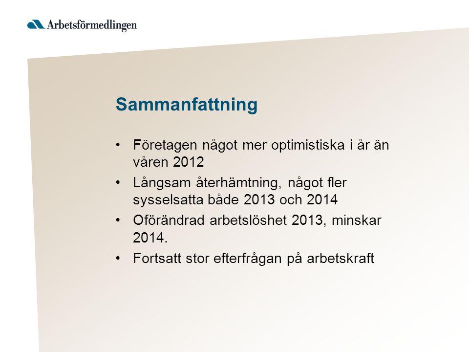 Sammanfattning Företagen något mer optimistiska i år än våren 2012 Långsam återhämtning, något fler sysselsatta både 2013 och 2014 Oförändrad arbetslöshet 2013, minskar 2014.
