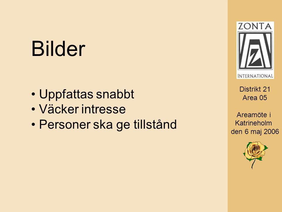 Distrikt 21 Area 05 AD Monica Rosander Bilder Uppfattas snabbt Väcker intresse Personer ska ge tillstånd Distrikt 21 Area 05 Areamöte i Katrineholm den 6 maj 2006