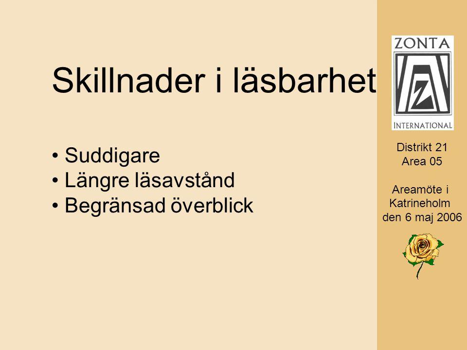 Distrikt 21 Area 05 AD Monica Rosander Skillnader i läsbarhet Suddigare Längre läsavstånd Begränsad överblick Distrikt 21 Area 05 Areamöte i Katrineholm den 6 maj 2006
