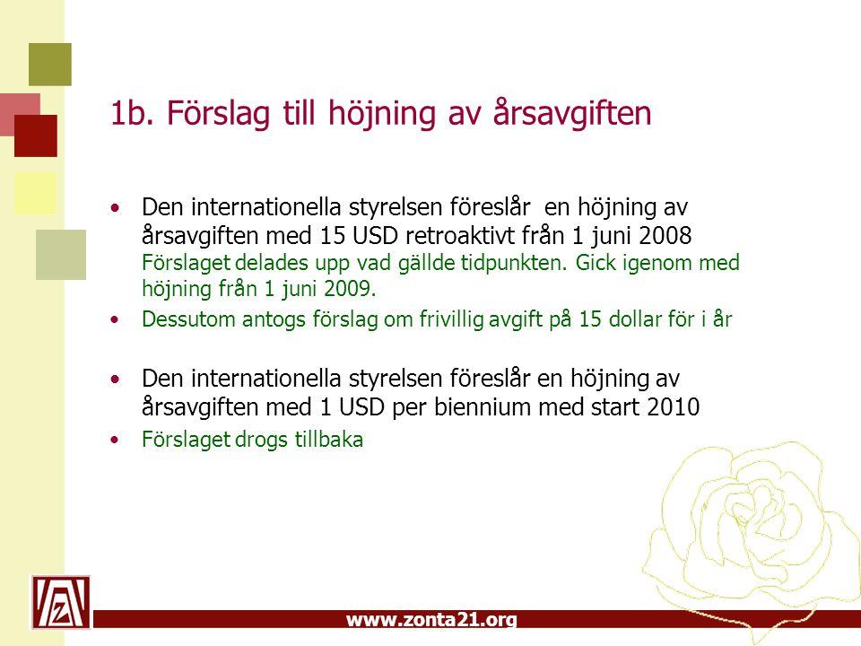 www.zonta21.org 1b. Förslag till höjning av årsavgiften Den internationella styrelsen föreslår en höjning av årsavgiften med 15 USD retroaktivt från 1