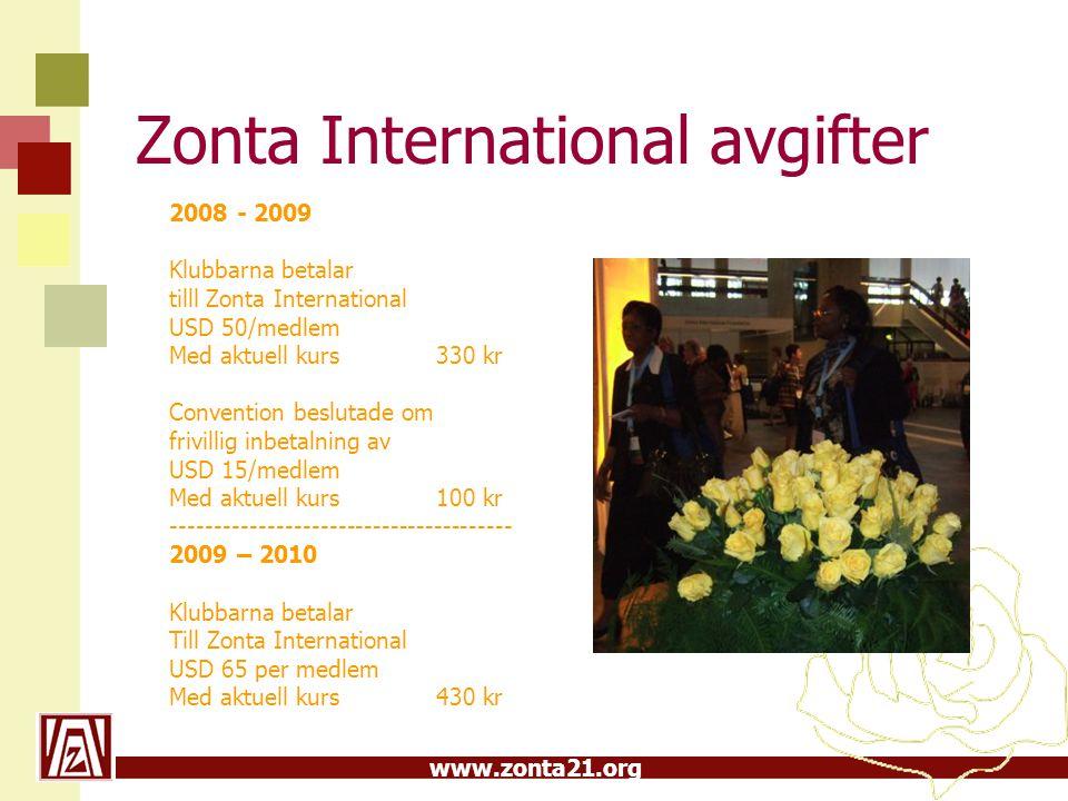 www.zonta21.org Zonta International avgifter 2008 - 2009 Klubbarna betalar tilll Zonta International USD 50/medlem Med aktuell kurs 330 kr Convention