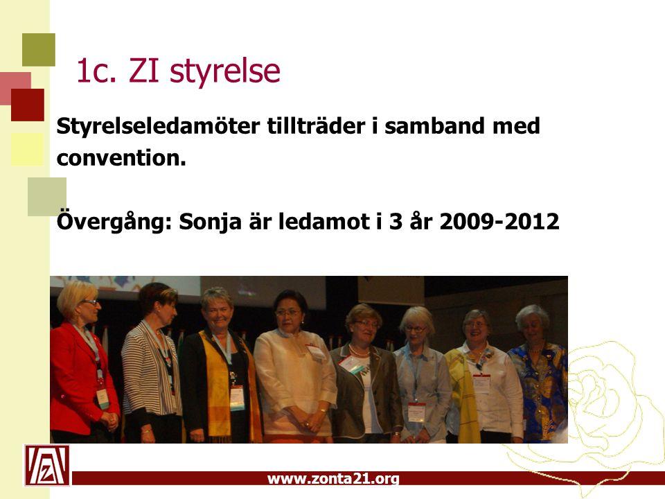 www.zonta21.org 1c. ZI styrelse Styrelseledamöter tillträder i samband med convention. Övergång: Sonja är ledamot i 3 år 2009-2012