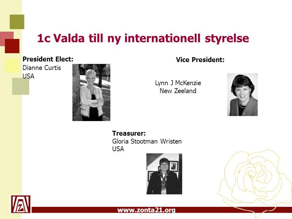 www.zonta21.org 1c Valda till ny internationell styrelse President Elect: Dianne Curtis USA Treasurer: Gloria Stootman Wristen USA Vice President: Lyn