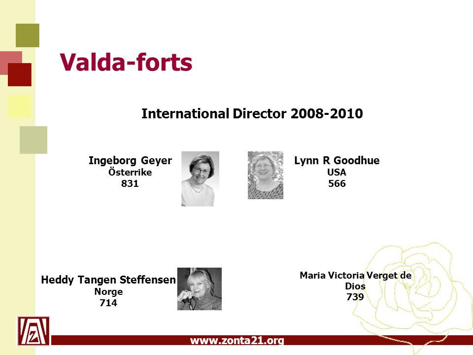 www.zonta21.org Valda-forts International Director 2008-2010 Lynn R Goodhue USA 566 Heddy Tangen Steffensen Norge 714 Maria Victoria Verget de Dios 73