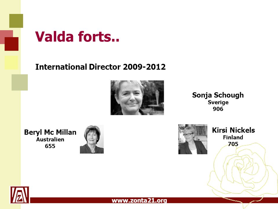 www.zonta21.org Valda forts.. International Director 2009-2012 Sonja Schough Sverige 906 Beryl Mc Millan Australien 655 Kirsi Nickels Finland 705
